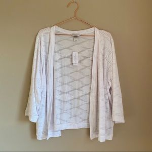 NWT Christopher & Banks White Cardigan XL 0090